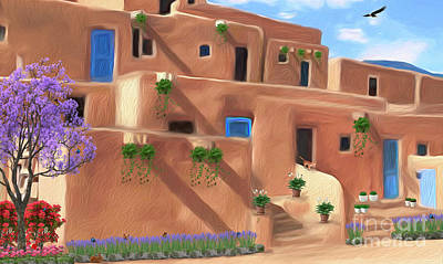 Digital Art - Taos Pueblo With Flowers by Walter Colvin