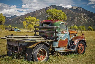 Photograph - Taos Vintage Truck Duo by Steven Bateson