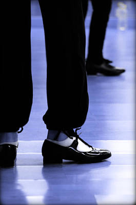 Tap Dance In Blue Are Shoes Tapping In A Dance Academy Art Print by Pedro Cardona