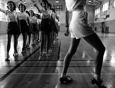 1940s Candid Photograph - Tap Dancing Class In The Gymnasium by Everett