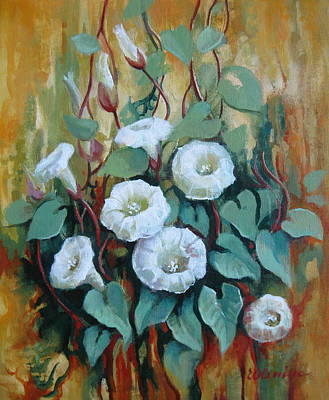 Morning Glories Painting - Tapestry Of Nature by Elena Oleniuc