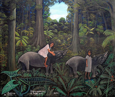 Painting - Tapir In The Jungle by Kayum Ma'ax Garcia