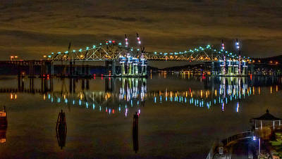 Photograph - Tappan Zee Bridge Night Reflection by Jeffrey Friedkin