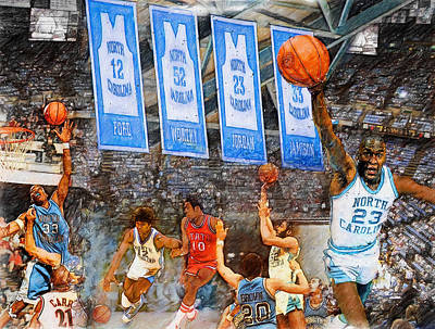 Jordan Painting - Tar Heel Greats by John Farr