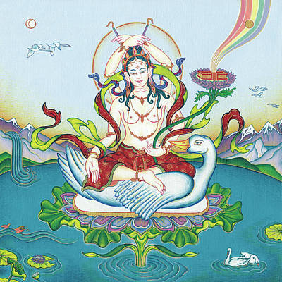 Mahayana Painting - Tara Protecting Against Poisons And Naga-related Diseases by Carmen Mensink