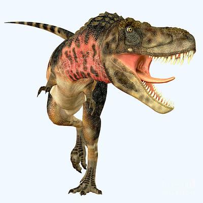 Tarbosaurus Painting - Tarbosaurus Carnivore Dinosaur by Corey Ford