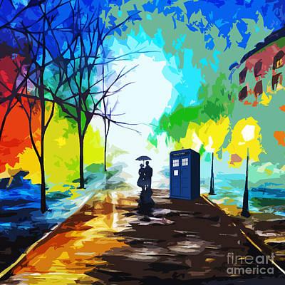 Tardis Painting - Tardis Art Love Story by Mahniar Rangkuti