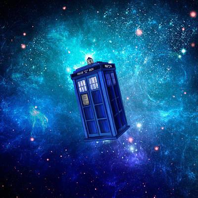 Dalek Digital Art - Tardis Blue Space by Koko Priyanto