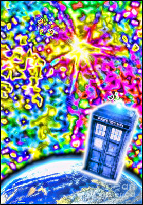 Tardis In A Psychedelic Universe Print by Robert Radmore