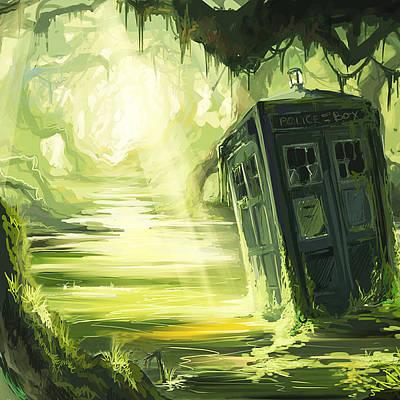 Fandom Painting - Tardis In The Swamp by Edi Suniarto