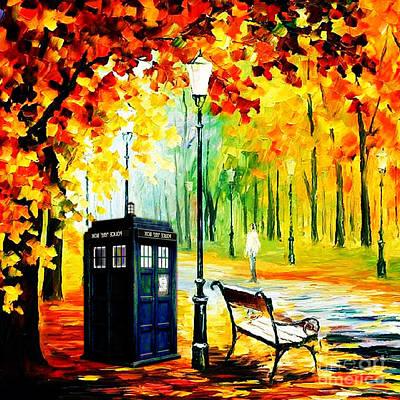 Fandom Painting - Tardis Starry Night by Devika Indriani
