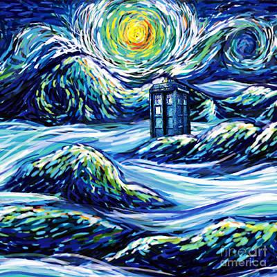 Tardis Starry Night Art Print by Vika Chan