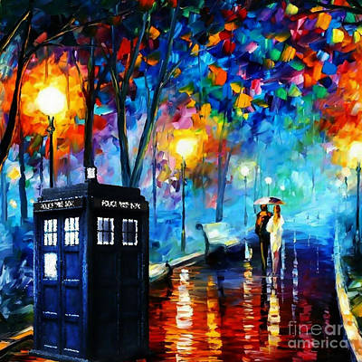 Fandom Painting - Tardis Starry Painting by Vika Chan