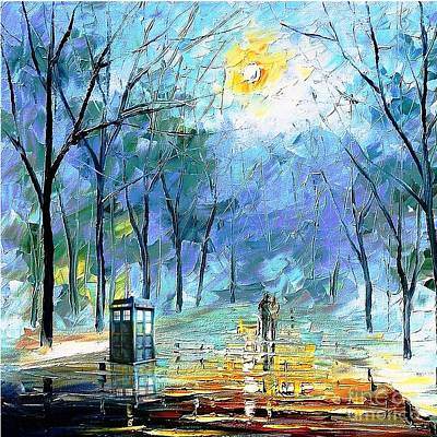 Fandom Painting - Tardis Watching by Vika Chan