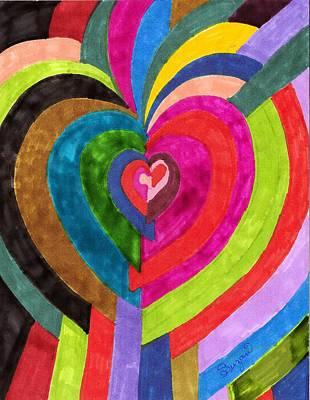 Target Hearts Art Print by Brenda Adams