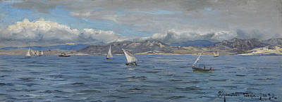 Painting - Tarifa, Sailing Ships At Gibraltar by Peder Monsted