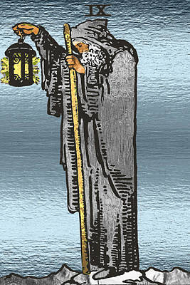 Digital Art - Tarot Gold Edition - Major Arcana - The Hermit by Serge Averbukh