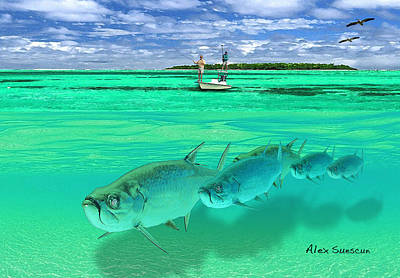 Painting - Tarpon Shot by Alex Suescun