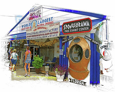 Digital Art - Tarpon Springs Fl Sponge Market by Rebecca Korpita