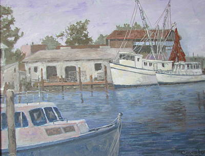 Painting - Tarpon Springs Harbor by Tony Caviston