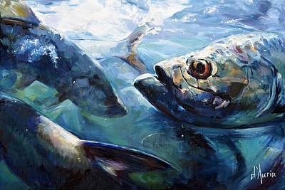 Sports Paintings - Tarpon by Tom Dauria