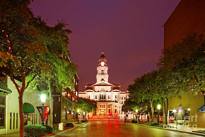 Photograph - Tarrant County Courthouse At Twilight - Fort Worth North Texas by Silvio Ligutti
