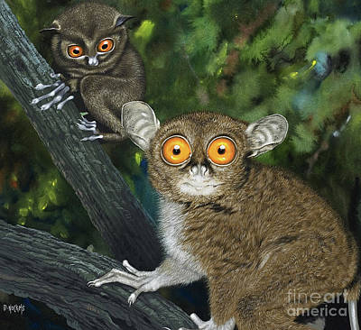 Bug Eyes Painting - Tarsiers by David Nockels