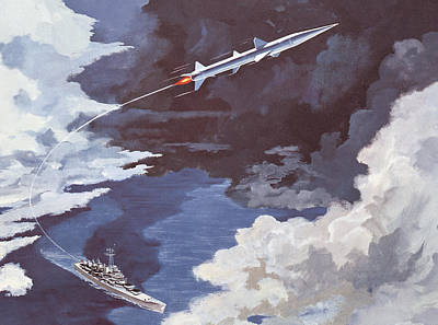Speed Boat Painting - Tartar Surface To Air Missile by American School