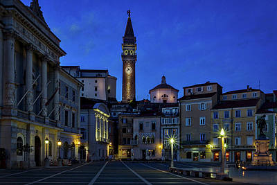 Photograph - Tartini Square Dusk - Piran Slovenia by Stuart Litoff