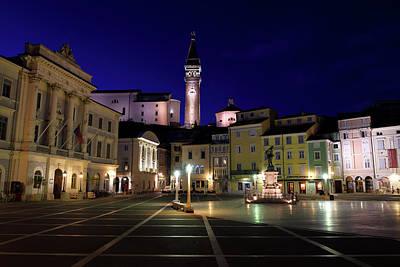 Photograph - Tartini Square Piran Slovenia With City Hall, St. George's Paris by Reimar Gaertner