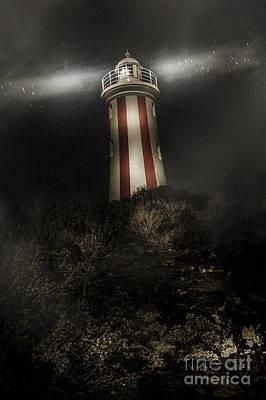 Tasmania Lighthouse In Rain Storm. Guiding Light Art Print by Jorgo Photography - Wall Art Gallery