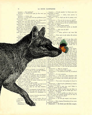 Marsupial Digital Art - Tasmanian Tiger And Orange Butterfly Antique Illustration On Dictionary Page by Madame Memento