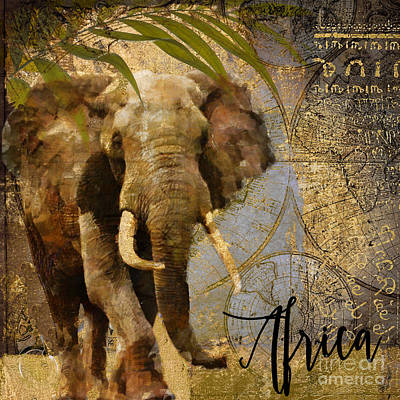 World Map Painting - Taste Of Africa Elephant by Mindy Sommers