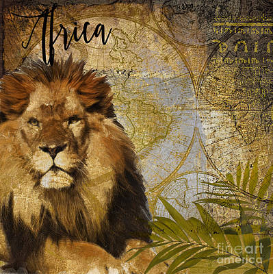 World Map Painting - Taste Of Africa Lion by Mindy Sommers