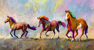 Animals Paintings - Taste of Freedom by Anthony Mwangi