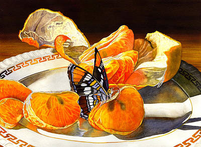 Tangerines Painting - Tasty by Catherine G McElroy