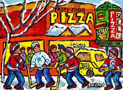 Painting - Tasty Food Pizza Montreal Winter Scene Restaurant Painting Hockey Art Canadian Artist Carole Spandau by Carole Spandau