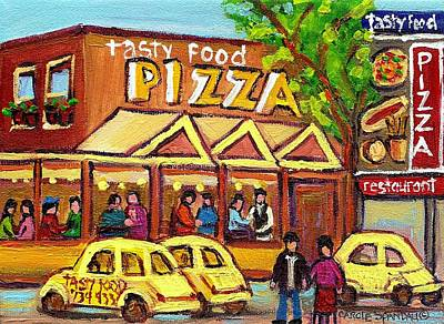 Montreal Winter Scenes Painting - Tasty Food Pizza On Decarie Blvd by Carole Spandau