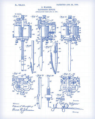 Painting - Tatooing Device Patent Drawing by Gary Grayson