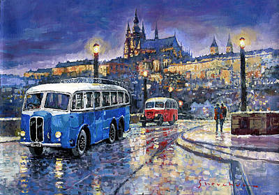Bus Painting - Tatra 85-91bus 1938 Praha Rnd Bus 1950 Prague Manesuv Bridge by Yuriy Shevchuk
