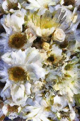 Mums Painting - Tattered Bouquet by RC deWinter