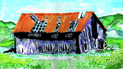 Drawing - Tattered Prairie Barn by Seth Weaver