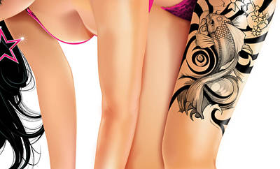 Digital Art - Tattoo Girl by Brian Gibbs