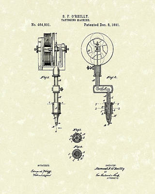 Tattoo Machine 1891 Patent Art Art Print by Prior Art Design