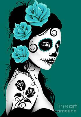 Jeff Digital Art - Tattooed Day Of The Dead Sugar Skull Girl Teal Blue by Jeff Bartels