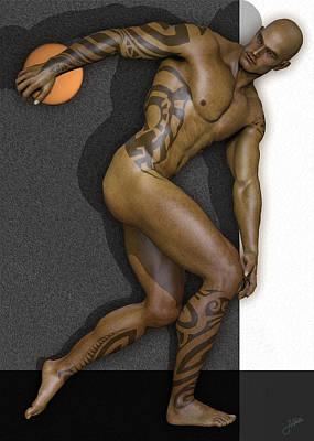 Male Nude Drawing Digital Art - Tattooed Discobolus 3d by Joaquin Abella