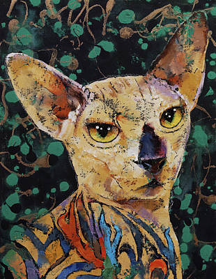 Sphynx Cat Painting - Tattooed Sphynx by Michael Creese