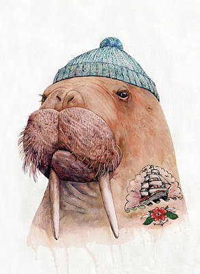 Whimsical Wall Art - Painting - Tattooed Walrus by Animal Crew