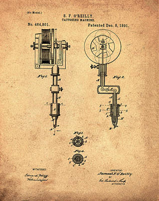 Sepia Ink Digital Art - Tattooing Machine Patent 1891 Sepia by Bill Cannon