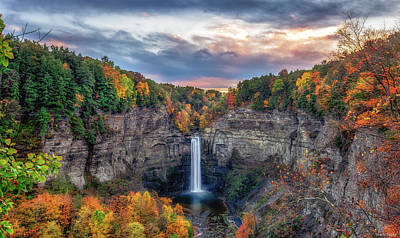 Waterfalls Photograph - Taughannock Autumn Dusk by Mark Papke